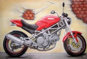 Ducati Monster 800ie. 30x 40 cm Pastell